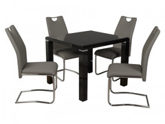 Clarus Black Dining Set with Grey Chair