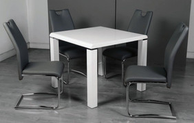 Clarus White Dining Set with Grey Chair