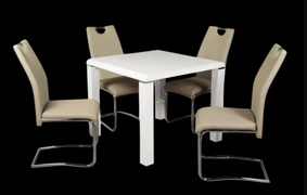 Clarus White Dining Set with Khaki Chairs
