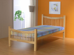 Jordan 3ft Single Beech Colour Bed  wooden ends with a metal base