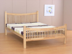 Jordan 4ft Small Double Beech Colour Bed    Wooden ends with a metal base bed