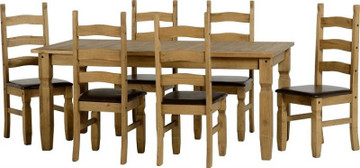 Corona Extending Dining Set- 6 Brown PU chairs