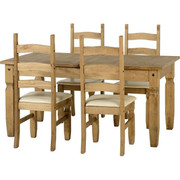 Corona Extending Dining Set- 4 Cream Pu chairs