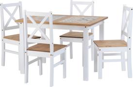 Salvador 1+4 Tile Top Dining Set-White