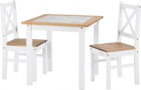 Salvador 1+2 Tile Top Dining Set-White