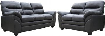 Capri 3+2 Seater-Black Faux Leather