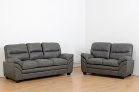 Capri 3+2 Seater-Grey Faux Leather