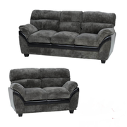 Capri 3+2 Seater-Charcoal Faux Leather