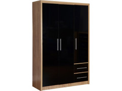 Seville 3 Door 2 Drawer Wardrobe-Black