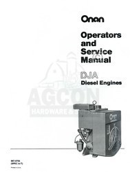 ONAN DJA A-T Diesel Engine Operators and Service Shop Manual 967-0755