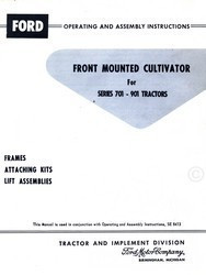 Ford  Front Mounted Cultivator for Series 701-901 Tractor Operators Manual