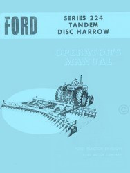 Ford  Series 224 Tandem Disc Harrow Operators Manual