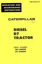 CATERPILLAR D7 DIESEL OPERATORS MANUAL 7M1-7M9999 - 3TI