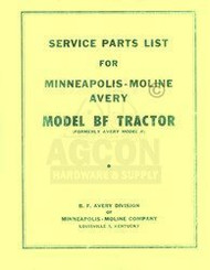 Avery Minneapolis Moline BF R Tractor Parts Manual List