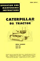 CATERPILLAR D8 D-8 OPERATORS MANUAL 35A1 36A1 CAT