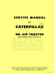 Caterpillar 619 Tractor Shop Service Manual CAT Serial 98E1-up and 90E1-Up