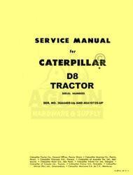 Caterpillar D8 TRACTOR D-8 SHOP SERVICE MANUAL CAT 36A4469-up 46A10725-up