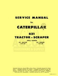 CATERPILLAR 631 TRACTOR SCRAPER SHOP SERVICE MANUAL CAT