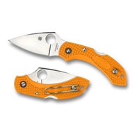 "Spyderco C28POR2 Dragonfly 2 LWT 2.30"" Plain Edge VG-10 Blade Orange Handle"