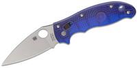 "Spyderco C101PBL2 Manix 2 Folding Knife 3-3/8"" BD-1 Plain Blade Translucent Blue FRCP Handles"