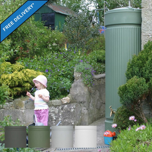 500 Litre Roman Column Style Water Butt is available in four colours, Charcoal, Green, Grey and White.