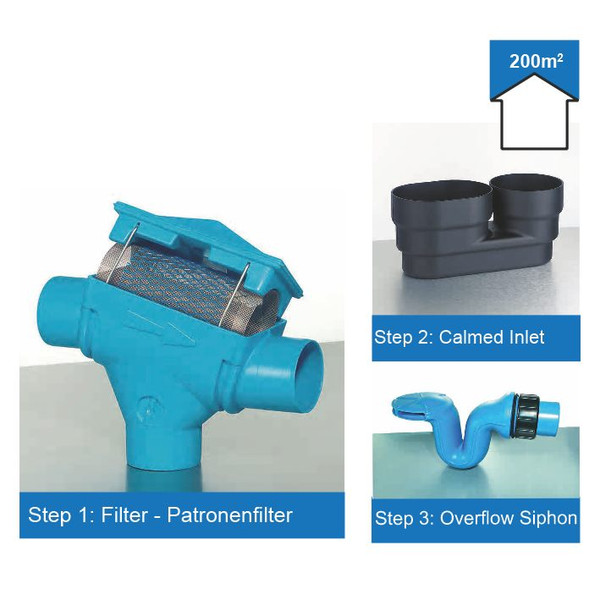 Rainwater Harvesting Filter Kit for roof areas up to 200m2.