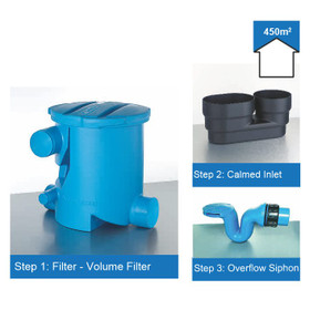Rainwater Harvesting Filter Kit for roof areas up to 450m2. The Volume Filter has the outlet to Rainwater Storage at the side of the Unit.