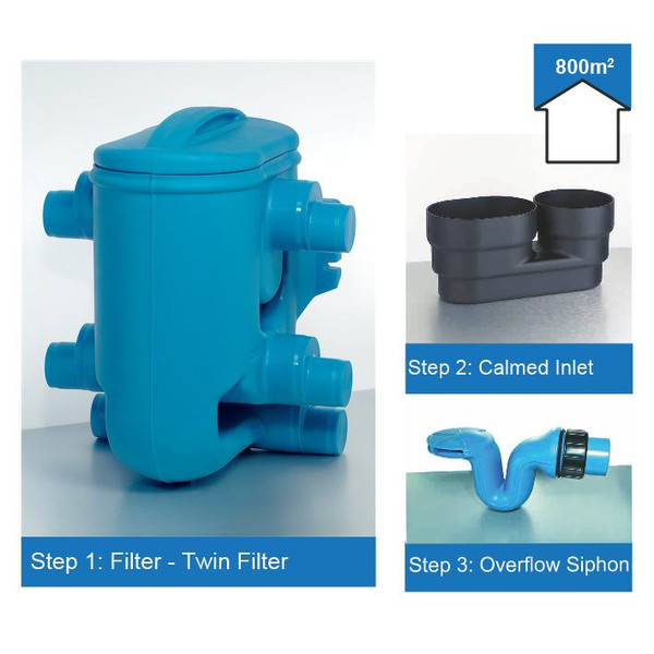 Rainwater Harvesting Filter Kit for roof areas up to 800m2.