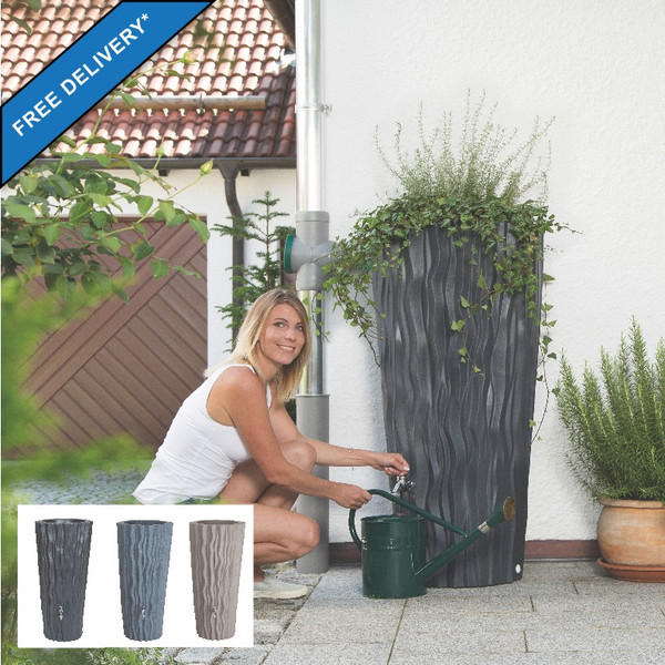 Alana Water Butt Planter in three contemporary colour finishes: Slate, Flint Grey and Taupe