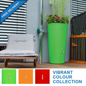 RainBowl Flower water butt planter - virbrant colour collection: Kiwi Green, Mango Orange and Chilli Red