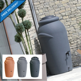 HandyCan 270l water butt with Planter. Colour Options: Terracotta, Dove Grey or Slate. Optional Base