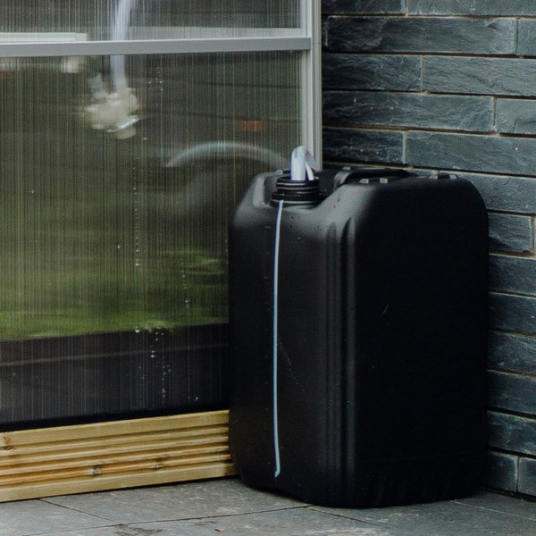 Harvst 25 L Water tank can be positioned either side of the smart greenhouse.