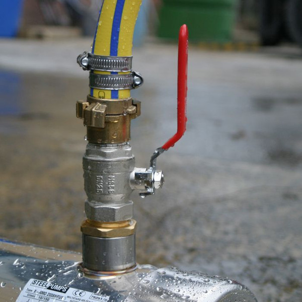 Discharge Hose Kit showing connection to the SteelPump. Note Medium-Duty Hose option shown.