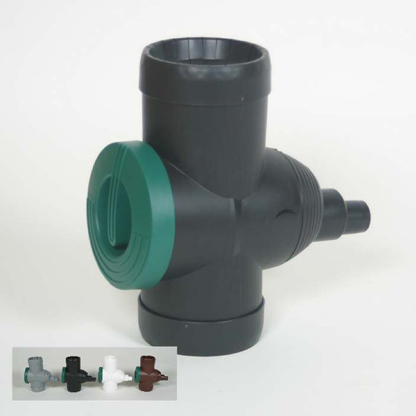 Rain Water Diverter with built in Filter, Switch and Overflow. Showing Colour Range: Grey, Black, White and Brown.