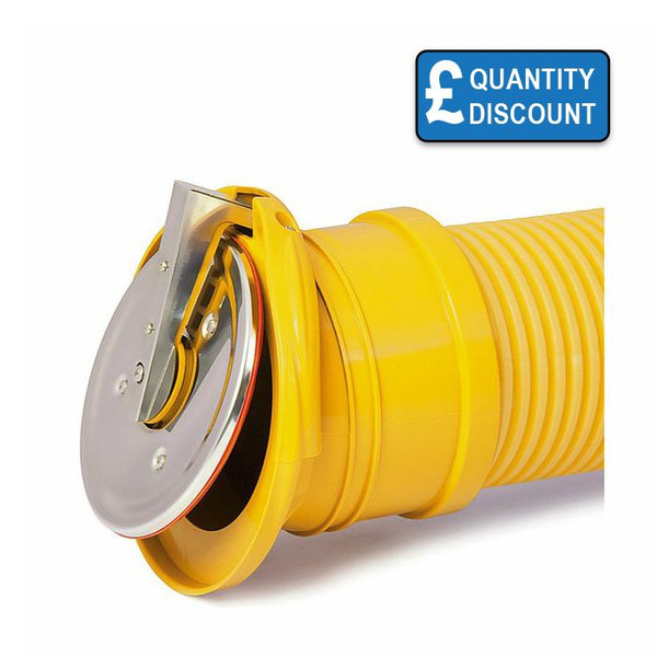 Flap Valve for Land Drains and other unperforated corrugated pipes.