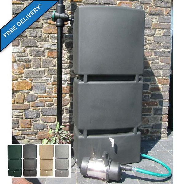 800L Water Tank with Garden Pump and Connectors in Black. Inset shows colour options: Green, Black, Sand, Granite.