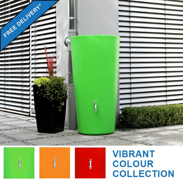 210L Rainbowl Water Butt with Free Delivery*.  Vibrant Colour Collection: Kiwi Green,  Mango Orange, Chilli Red.