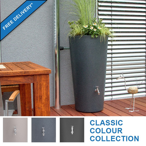 Rainbowl Flower water butt with planter. Available in three colours. Top image showing slate colour finish.