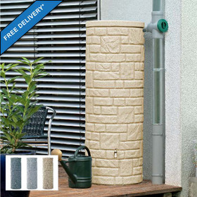 Arcado 360L Round Stone Pillar Effect Water Butt in Sandstone. Inset image showing colour range: Charcoal, Granite, Sandstone.