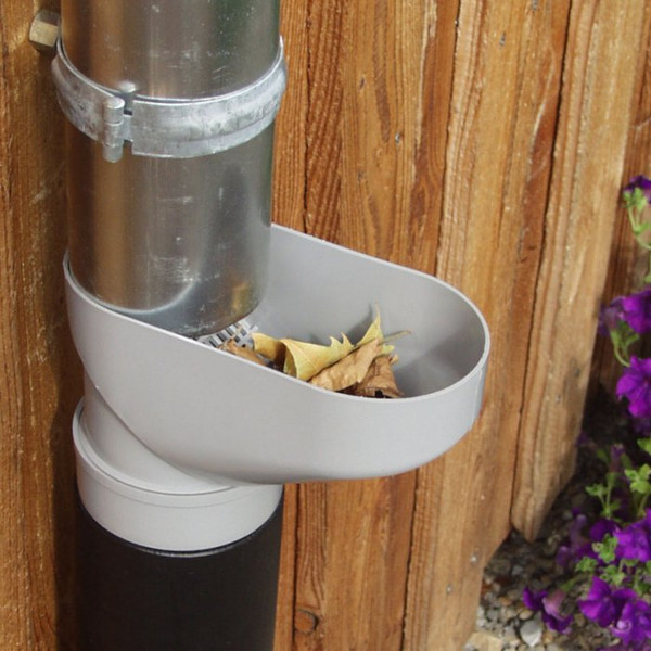 Downpipe Leaf Catcher installed at a height easy to collect leaves.
