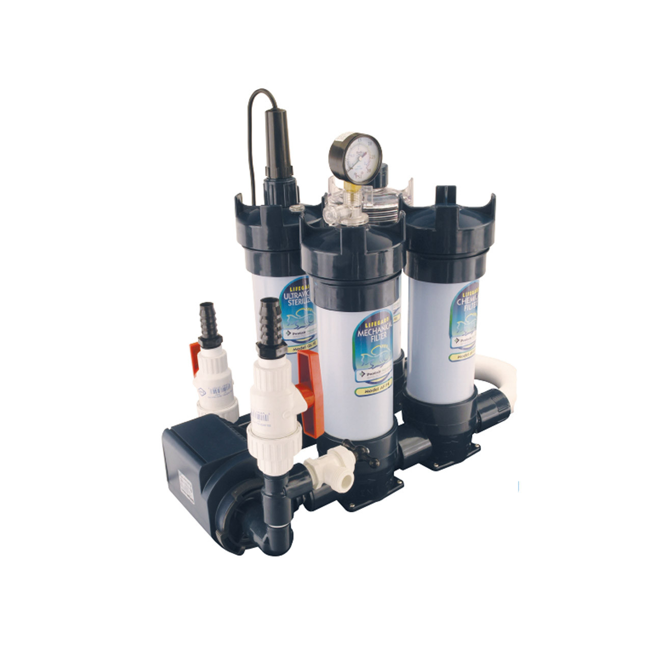 Sistema modular enlinea preensamblado Lifegard Aquatics (Bomba, Filtro mecanico, Filtro Quimico, Calentador, Filtro ultravioleta)