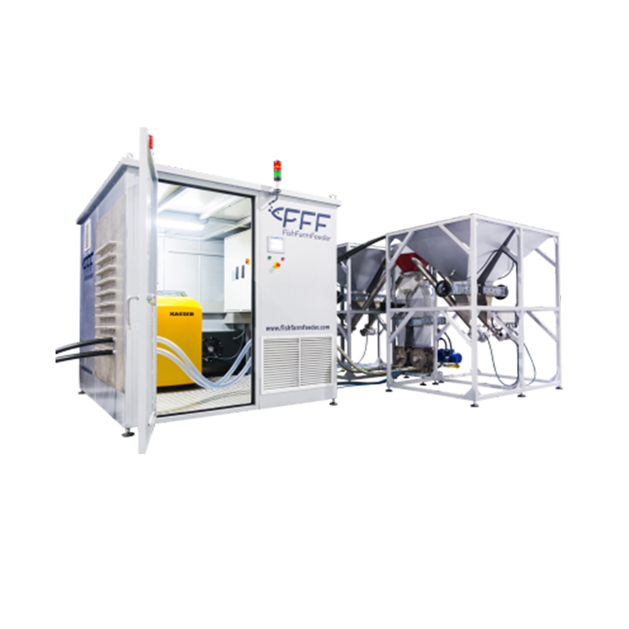 Alimentador centralizado para cultivo intensivo de camarón FFF