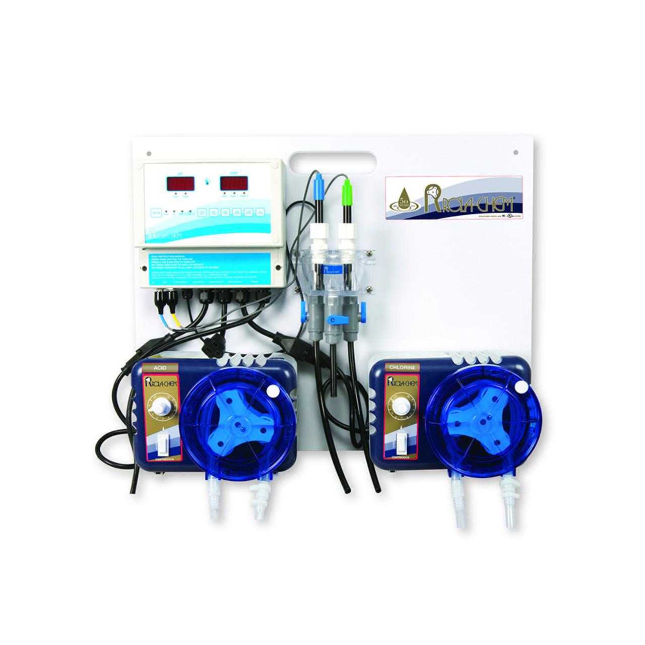 Sistema de todo en uno para monitoreo y control dos fuentes de desinfectante con pH digital / sistema ORP dual para piscinas spas y jacuzzis ROLA-CHEM