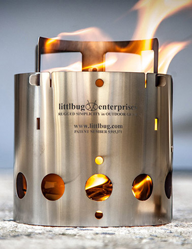 The Littlbug smoke free wood burning backpacking stove.