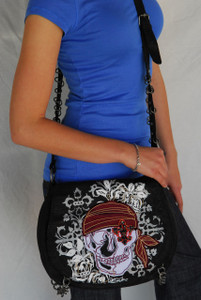 Royal Plush Skull Hobo Bag