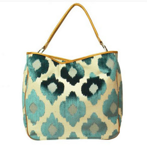 Glenda Geis OLIVIA INK BLUE CHENILLE DIAMOND Tote Bag