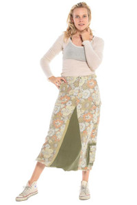 DA-NANG ORIGINAL MILITARY MAXI SKIRT-FLOWER POWER