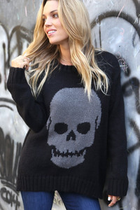 WOODEN SHIPS BIG SKULL CREWNECK BLACK/GUNMETAL