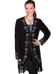 Scully Embroidered Fringe Suede Coat
