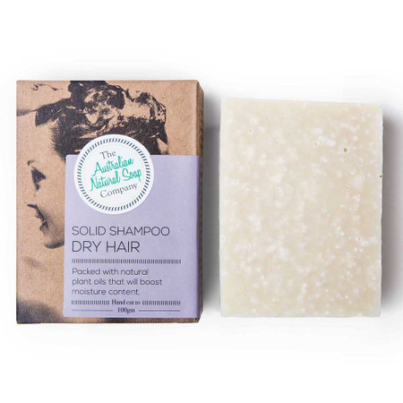 Australian Natural Soap Company Solid Shampoo for Dry Hair with box